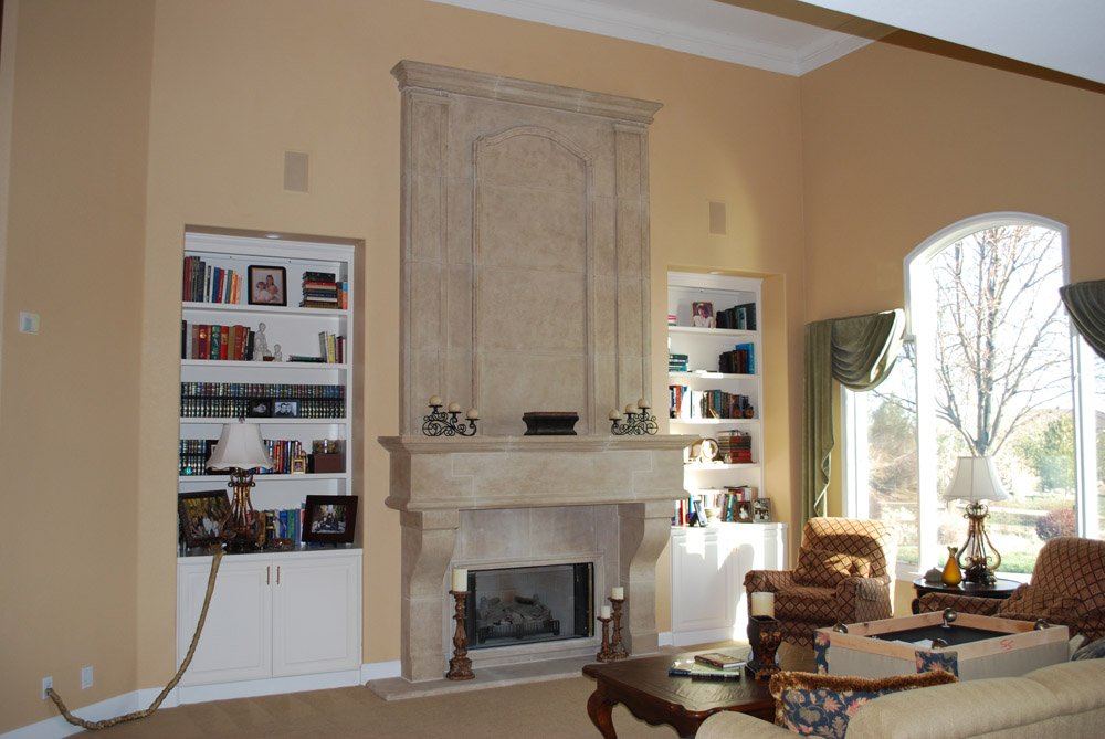 Stone Fireplace Living Room Remodel Reno Nv With Custom Crown Moulding