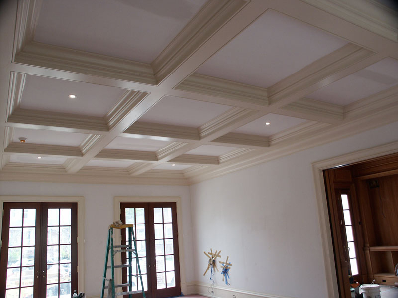 Custom cauffered coffered ceilings box beams crown for Beamed ceiling